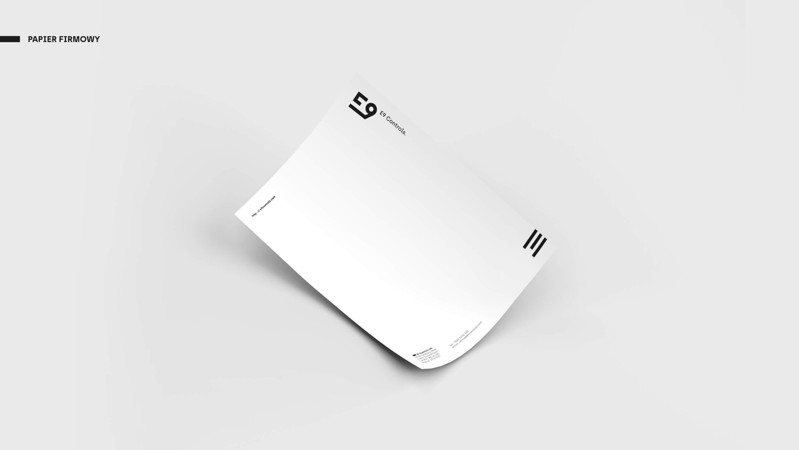 E9 Controls - Projekt papieru firmowego