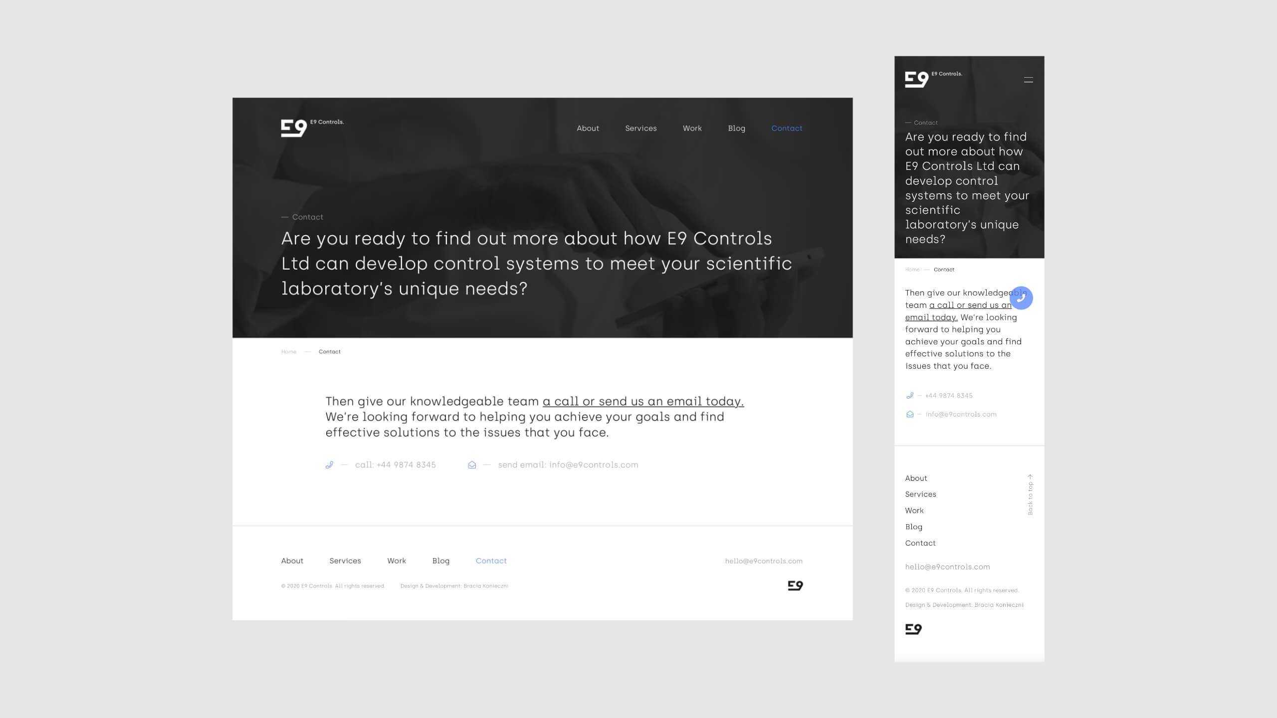 E9 Controls - Web Design UX/UI