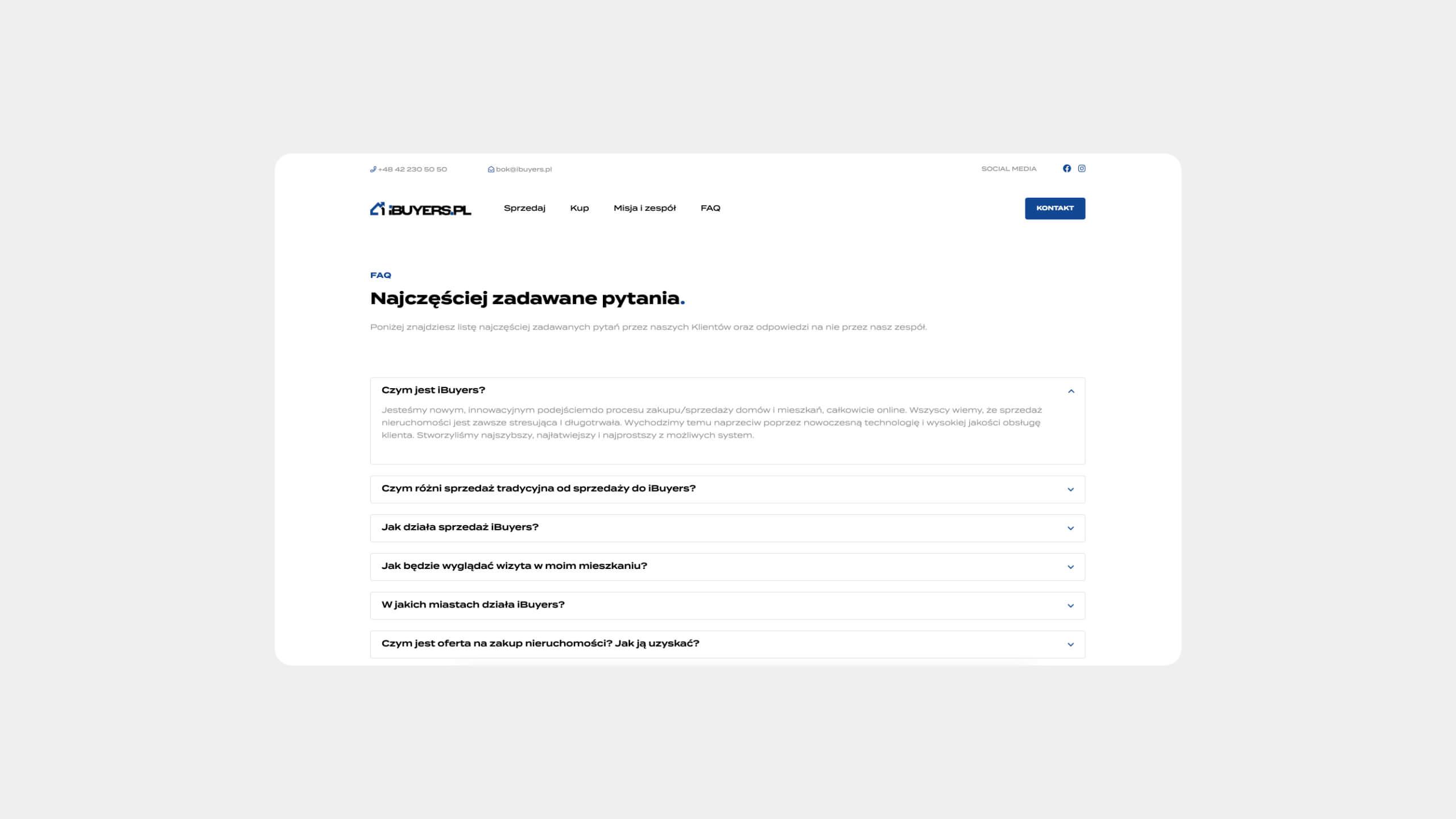 ibuyers.pl - strona internetowa z sekcją FAQ