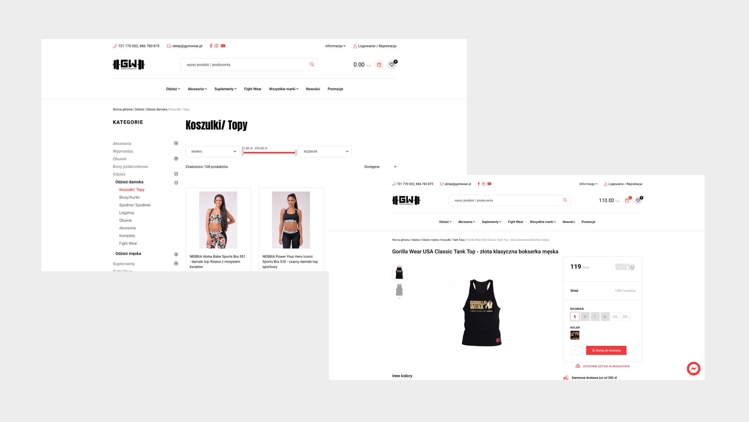 Gym Wear - Dedykowany sklep internetowy