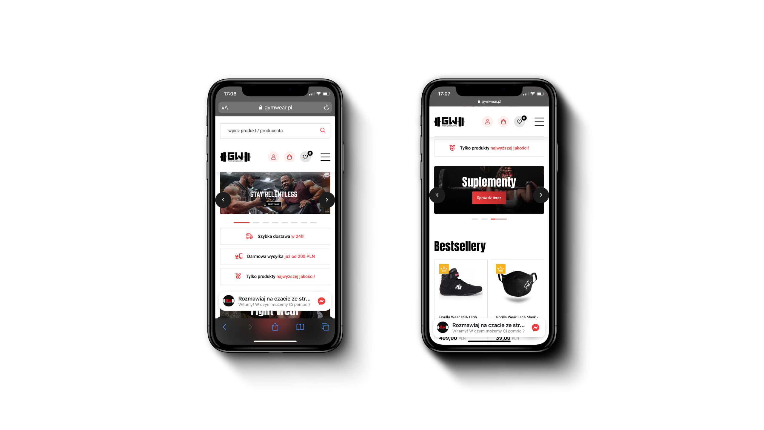 Gym Wear - Mobilny sklep internetowy z ubraniami na siłownię