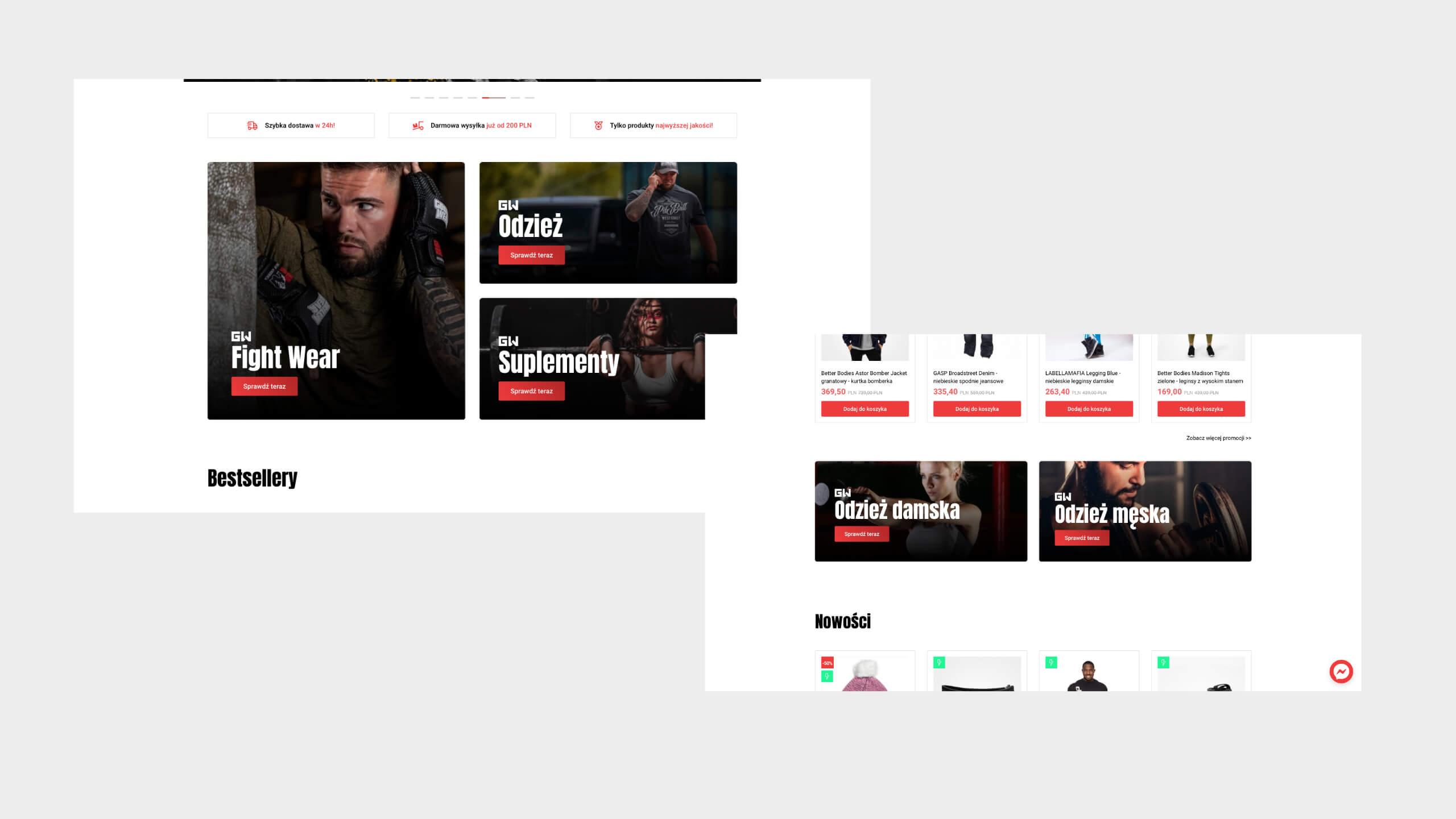 Gym Wear - Projekt sklepu internetowego
